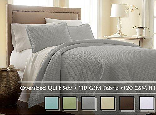 southshore fine linens 3 piece oversized quilt set steel grey king california king