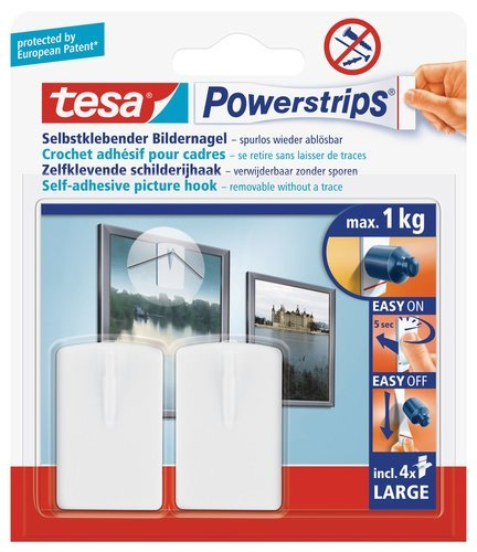 Tesa 58031-00020-00 Powerstrips Picture Hooks White with 2 Hooks 4 Strips by tesa UK