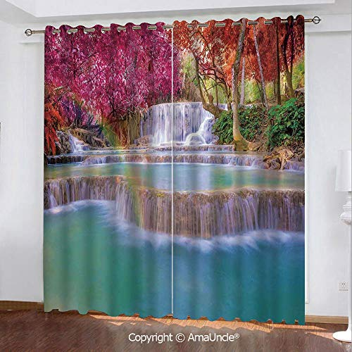 Home Fashion Blackout Curtain with Luxury Feeling,Waterfall Decor,Rain Forest in Vietnam Laos with Asian Pink and Orange Trees Side of River Image,Blue Pattern,W108.3xL95.3 Inches,Elegant Window Prin -