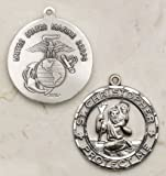 Creed Sterling Silver Saint Christopher 1 Inch Marine Corps Medal Pendant