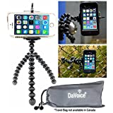Flexible Tripod for iPhone SE 7 6s 6 5s 5c 5 4s 4 Galaxy S7 S6 S5 S4 S3 S2 - Cellphone Tripod Adapter - Travel Bag - Mini Lightweight Bendable by DaVoice (Black/Gray)