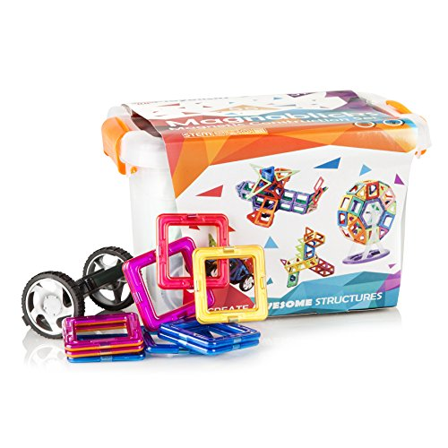 Magnetic Toy Building Blocks Kit: 55 Piece Colorful Plastic Model Kit and Magnet Tiles for Kids; Childrens STEM Educational Stacking and Learning Game for Boys and Girls Homes or Teachers Classrooms