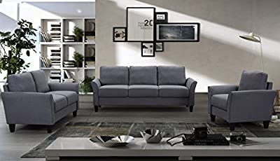 Harper&Bright Designs Sectional Sofa Set 3-Seat Sofa and Loveseat Chair with Single Chair Grey