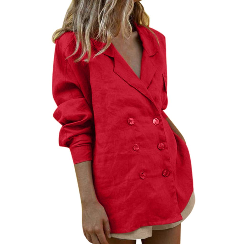 Women 2 Piece Outfits for Work Cotton Linen Long Sleeve Double-Breasted Blouse and Shorts Set Formal Bodycon Two Piece Set