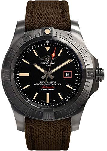 Breitling Avenger Blackbird 44 Black Titanium Case with Brown Canvas Strap Men's Watch