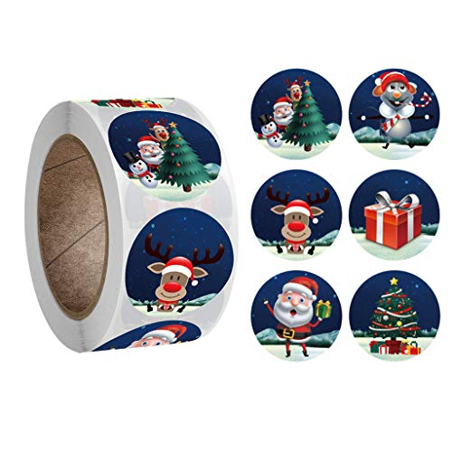 500pcs Christmas Stickers Roll - Christmas Holidays Stickers Round, Great for Holiday Greeting, Sealing, Gifting, Gift Decorations, Amazing Choice for Kid's Gift BiuBuy (Green)