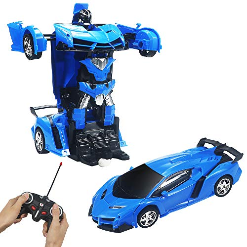 Jeestam RC Car for Kids, 1:18 Transform Car Robot, 2.4GHz Rechargeable One Button Transformation 360°Rotating Drifting Realistic Engine Sounds Remote Control Toy Car, Best Gift for Kids and Adults (Best Remote Control Car For Adults)