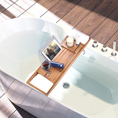 SUNFICON Bamboo Bathtub Caddy Tray with Extending Sides Mug/Wineglass/Smartphone Holder, Metal Frame Book/Pad/Tablet Holder with Waterproof Cloth Detachable Sliding Tray Non-Slip Rubber Base by SUNFICON (Image #3)
