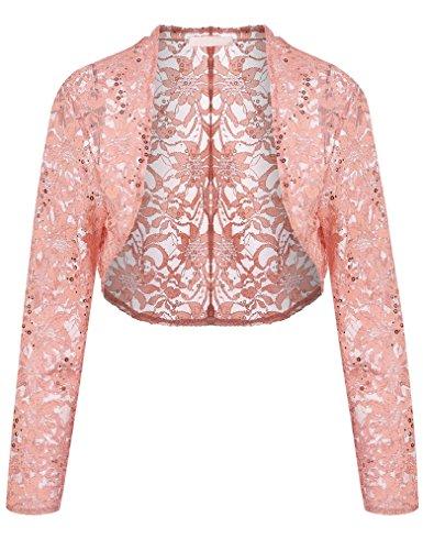 3/4 Sleeve Sheer Floral Lace Crop Jacket