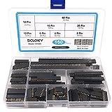 Seloky 160Pcs 2.54mm Straight Single Row PCB Board Female Pin Header Socket Connector Strip Assortment Kit for Arduino Prototype Shield(4Pin 6Pin 8Pin 10Pin 12Pin 16Pin 20Pin 40Pin