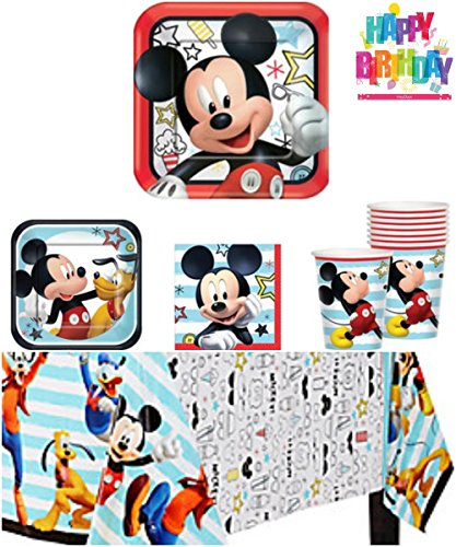 Mickey Mouse On The Go Party Supply Pack - Tableware for 16 Guests - 1 Tablecover,16 Dinner Plates, 16 Dessert Plates, 16 Napkins, 16 Cups, and a HeyDays Happy Birthday Tattoo