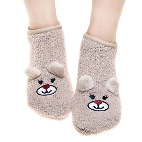 Toddlers Girls Anti Grip Fuzzy Socks Soft Warm Winter Grip Slippers For Women(beige)