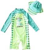Yober Baby Boy Swimsuit Infant One-Piece Zip Rashguard Swimsuit UPF 50+ (Green Dinosaur, 3-4T(Height:39.4''-43.3''))