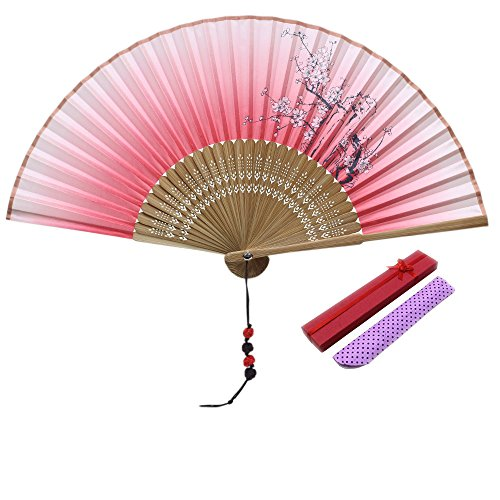 - JSSWB Ink Flowers Painting Ombre Hot Pink Ladies Silk Bamboo Fans with Cover Case