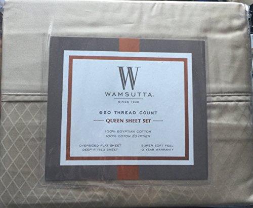 Wamsutta Diamond Queen Sheet Set 620 Thread Count Deep Pockets in Canvas Brown … (Wamsutta Sheets Cotton Egyptian)