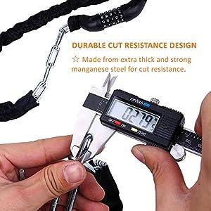 Bicycle Chain Lock, Sportneer 5-Digit Resettable Combination Anti-theft Bike Locks