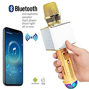 Indigi Wireless Bluetooth Handheld Karaoke Speaker KTV Microphone MP3 Music Player Portable Speaker w/ NEW Built-in Colorful Disco Dance Light