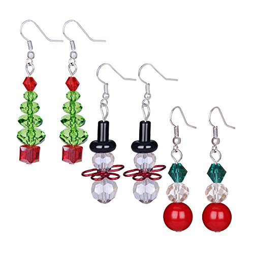 (Zhenhui Christmas Earrings for Women Handcrafted Clear Crystal Tree,White Snowman and Red Beads Multicolored Glass Dangle Earrings,Best Christmas Holiday,Valentine's Day Jewelry Gifts)