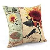 Createforlife Home Decor Cotton Linen Square Throw Pillowcase Cushion Cover Pillow Shams Vintage Sunflower Helianthus Annuus 18