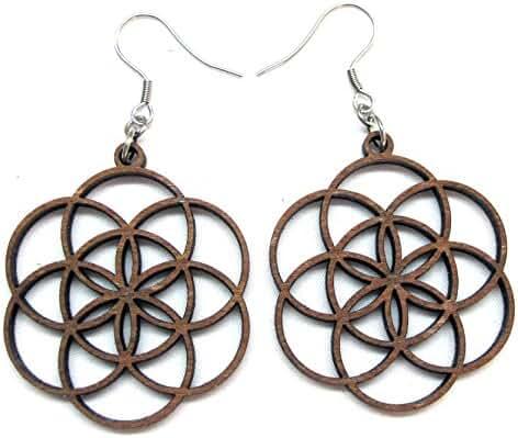 Seed of Life Earrings with Silver hooks, Wooden laser cut earrings, Sacred Geometry Jewelry