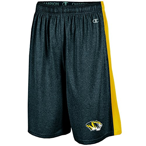 NCAA Missouri Tigers Men's Heather Jersey Color Blocked Training Shorts, Large, Black Heather