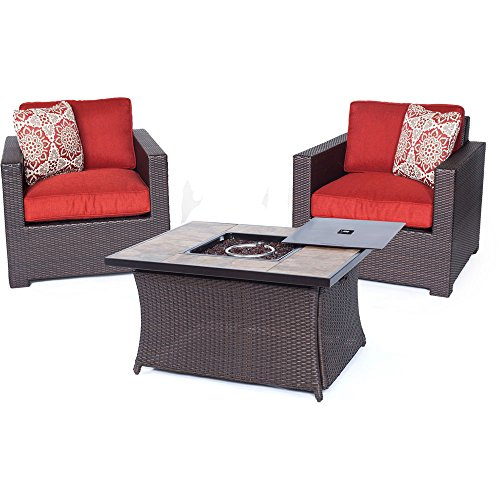 - Hanover MET3PCFP-BRY-B Metropolitan 3 Piece Chat Set with LP Gas Fire Pit Table, Autumn Berry Outdoor Furniture