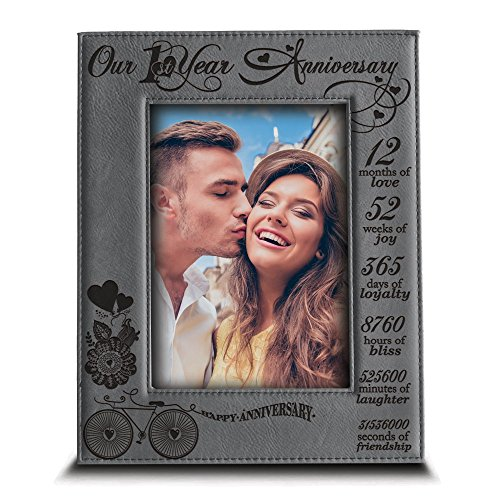 BELLA BUSTA Our 1st Year Anniversary  Months Week Days Hours Minutes Engraved Leather Picture FrameAnniversary gift for coupleour 1st Anniversary gift 5quotx 7quot Vertical