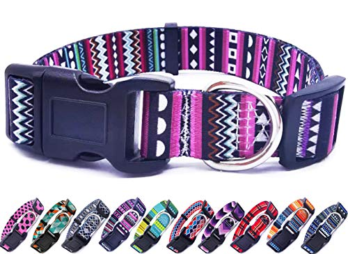 Mycicy Adjustable Nylon Dog Collar for Small Medium Dogs, Variety Patterns Colorful Cute Pet Collar