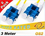 FiberCablesDirect 6Pk 3M OS2 LC LC Single Mode Fiber Patch Cables - 6 Pack | Duplex 9/125 LC to LC Singlemode Jumper Cord 3 Meter (9.84ft) | Pack Options: 2, 4, 6, 10, 12, 24 | pvc sm patch-cord lc-lc