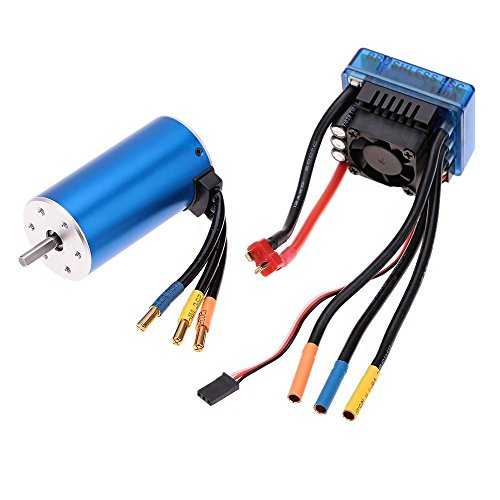 FastWin 3670 1900KV 4P Sensorless Brushless Motor with 120A Brushless ESC(Electric Speed Controller)for 1/8 1/10 RC Auto Car Truck (3670 1900KV+120A) (Best Motor And Esc For Slash 4x4)