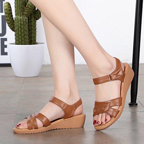 Taille 43 Brun Ouvert Scratch 40 Chaussure Femmes Grande 41 Sandales 4CM Confort Cuir Bout Compensees 42 wealsex Eté wg7UxTaq
