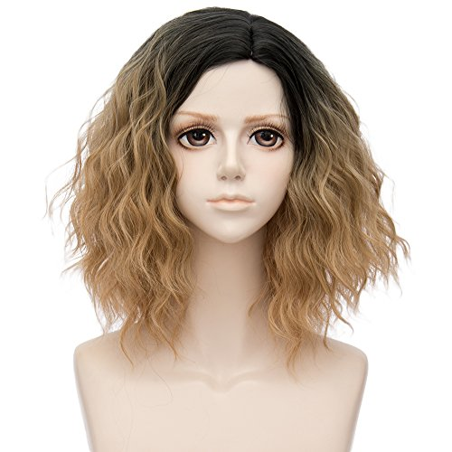 Alacos 35cm Fashion Black Dark Roots Ombre Short Curly Bob Christmas Daily Costumes Wig for Women +Wig Cap (Golden -