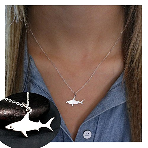 palettei Great White Shark Pendant Clavicle Chain - Gold and Silver Sea Animal Pendant (Silver)