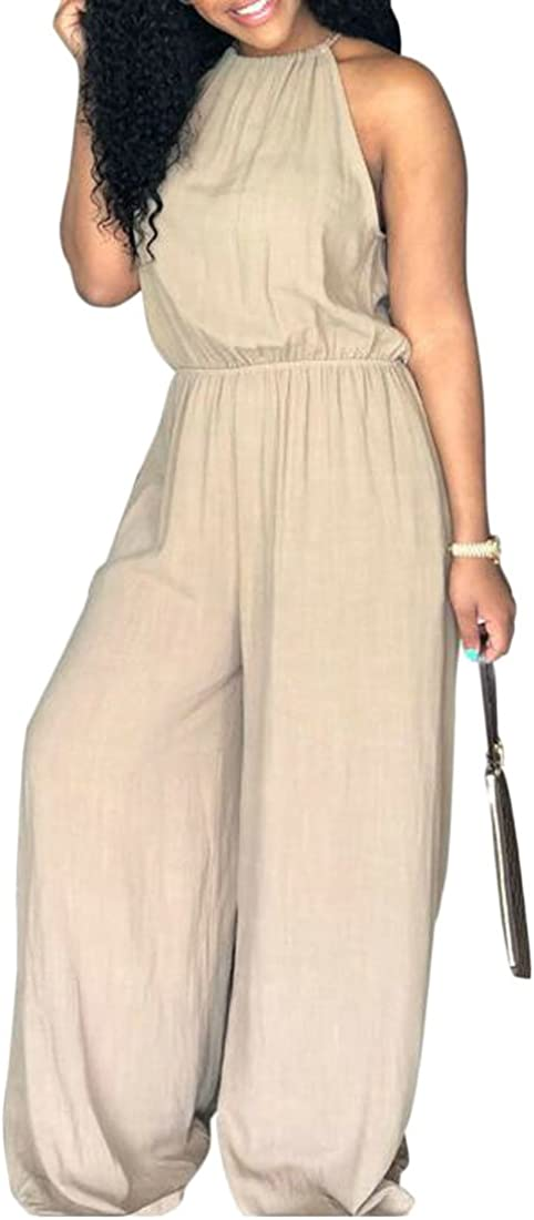 Blyent Womens Wide Leg Pants Palazzo Sleeveless Bandage Loose Vogue Playsuit Jumpsuit