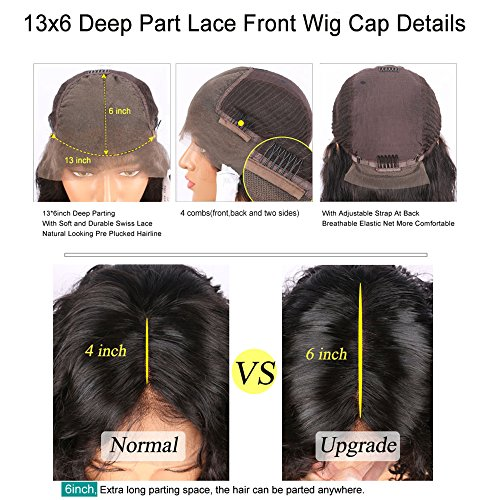 13x6 Lace Front Human Hair Wigs for Black Women Pre plucked Brazilian Virgin Hair 150 density Lace Front Wig Glueless Body Wave Front Lace Wigs with Baby Hair (14 Inch,150 density,13x6 Lace Front Wig) by EVA HAIR (Image #8)