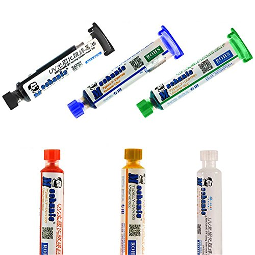 Soldering Tools - Wincom Dishman White Green Yellow Red Blue Black UV Curable Solder Mask 10CC for PCB BGA Circuit Board Protect Soldering Paste Flux Cream Welding Fluxes Oil - (Color: Red)