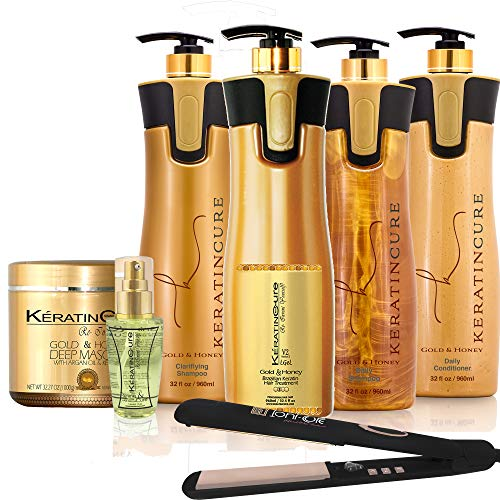 Keratin Cure Best Treatment Gold and Honey V2 LGEL 32 Ounces Intensive Collagen Professional Complex Nourishing Straightening Damaged Dry Frizzy Coarse Curly African 7 Piece Kit