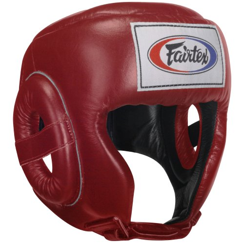 Fairtex Competition Headguard, Red, Medium