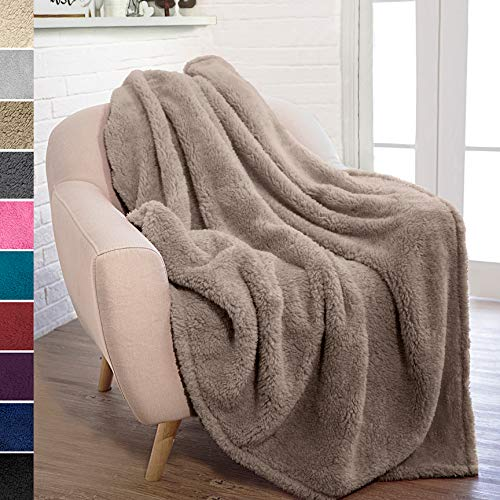 - PAVILIA Plush Sherpa Throw Blanket for Couch Sofa | Fluffy Microfiber Fleece Throw | Soft, Fuzzy, Cozy, Lightweight | Solid Taupe Brown Blanket | 50 x 60 Inches