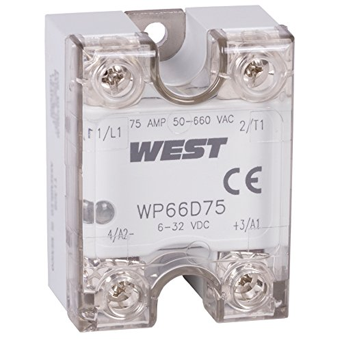 West WP66D75 Solid State Relay, Zero Cross Switching, 75 A Load Current Rating, 48 to 660 VAC Load Voltage Rating, 4 to 32 VDC Input Voltage, LED Indicator 660 Cross