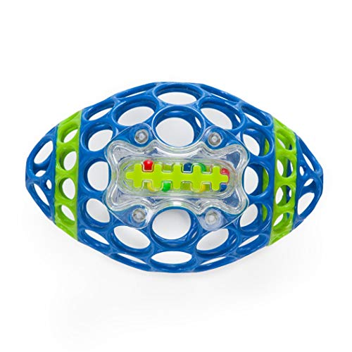 Oball Grab & Rattle Football Baby, Blue/Green