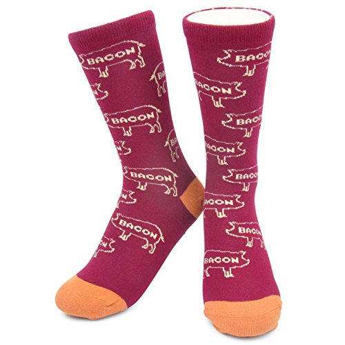 Bacon Pig Socks - Funny Funky Crazy, Unique, Novelty Socks - Kids, Womens & Mens, Bacon Pig, X-LARGE (W 10-13 , M 9-12)