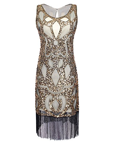 [PrettyGuide Women's 1920's Sequin Art Deco Hollow Paisley Tribe Cocktail Flapper Dress S Gold] (Gold Flapper Dress)