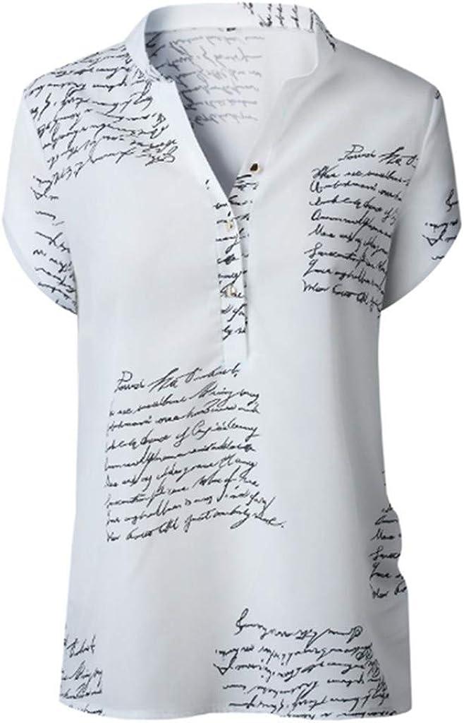 JURTEE Camisa para Mujer Moda Cuello En V Letra Impresión Remera Manga Corta Botón Tops Blusa De Verano: Amazon.es: Ropa y accesorios