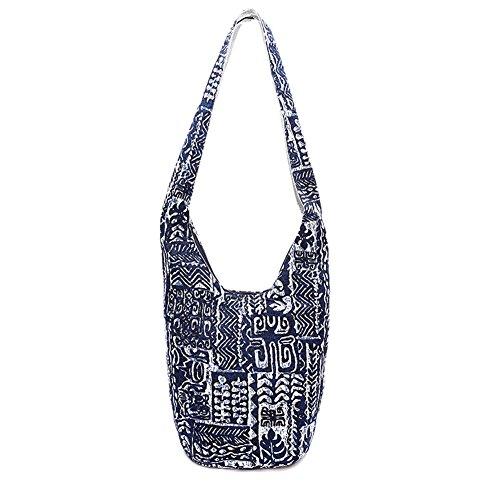 Handmade Bag Sling blue Thai Cotton Top Messenger Bohemian Crossbody Bag Dark Zip Purse Bag Hobo Hippie KARRESLY Shoulder 4OvT8