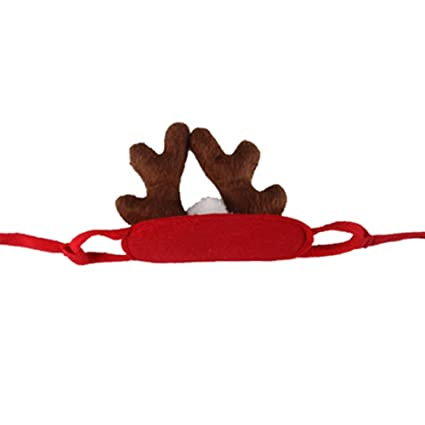 66e49b02796 Image Unavailable. Image not available for. Color  Powerfulline Xmas Costume  Pet Dog Cat Christmas Elk Deer Antlers Hat Cap ...