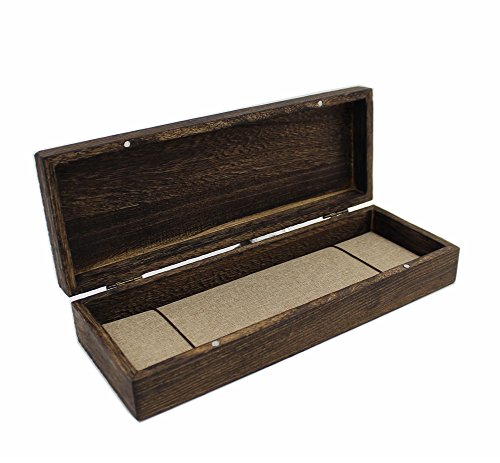 Vintage Design Hinged Top Solid Natural Wood Box with Linen Gift Bag for Necklace Straight Razor Box Gift Case Magnetic Closure Storage Container for Prayer Beads Crafts and more