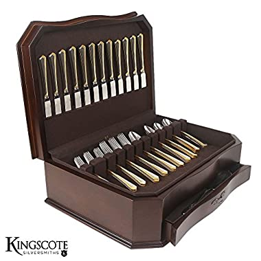 Kingscote Silversmiths Wilmington Bow Front Silverware Chest (MSRP:$210)