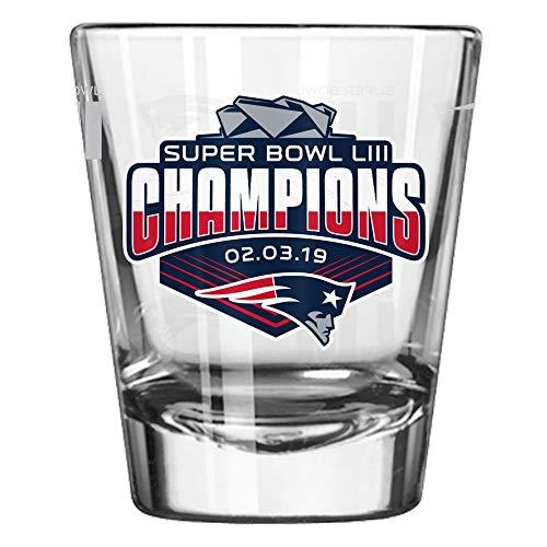 New England Patriots Super Bowl LIII 53 Champions Satin Etch 2 Ounce Shot Glass (New England Sports Shot Glasses)