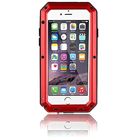 iPhone 6S Plus Case, Gorilla Glass Luxury Aluminum Alloy Protective Metal Extreme Shockproof Military Bumper Heavy Duty Cover Shell Case Skin Protector for Apple iPhone 6/6S Plus 5.5'' (Iphone 6 Plus Military Metal Case)